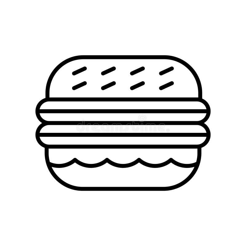 Hamburger ikony wektor odizolowywający na białym tle, hamburgeru znak, ciency kreskowi projektów elementy w konturze projektuje ilustracja wektor