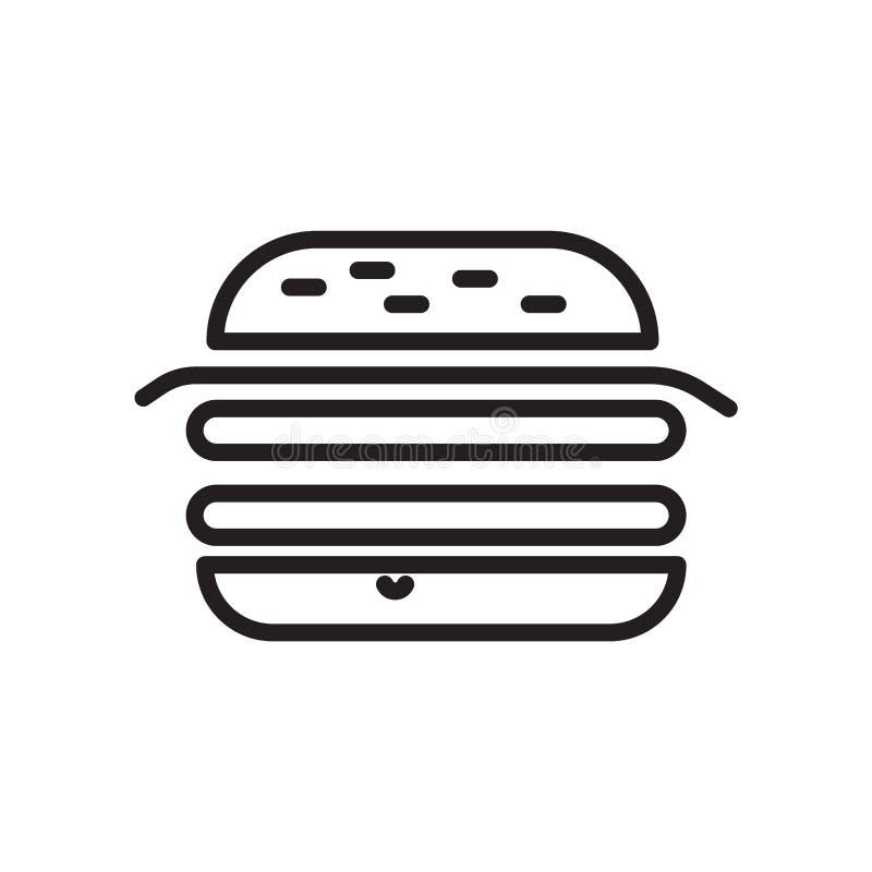 Hamburger ikony wektor odizolowywający na białym tle, hamburgeru znak, liniowy symbol i uderzenie projekta elementy w konturze, p ilustracji