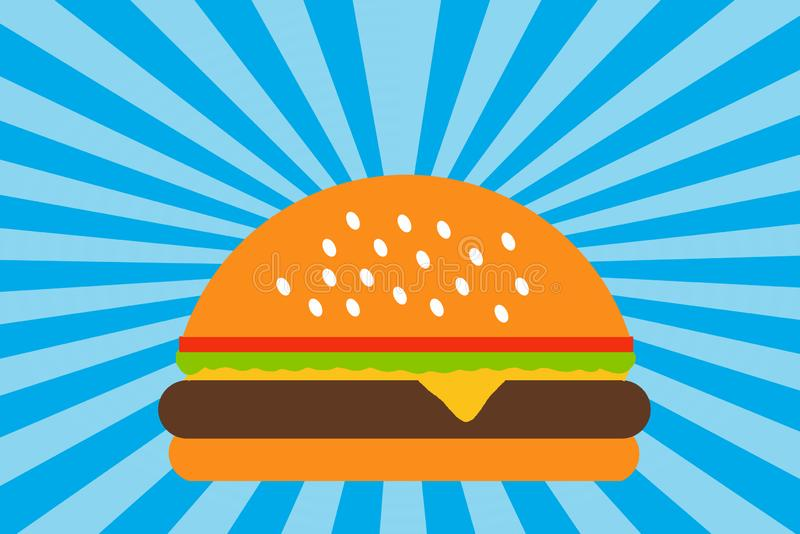 Hamburger Illustration, Zeichnung, Brot, Käse, Fleisch, Tomaten, Salat, Burger lizenzfreies stockbild