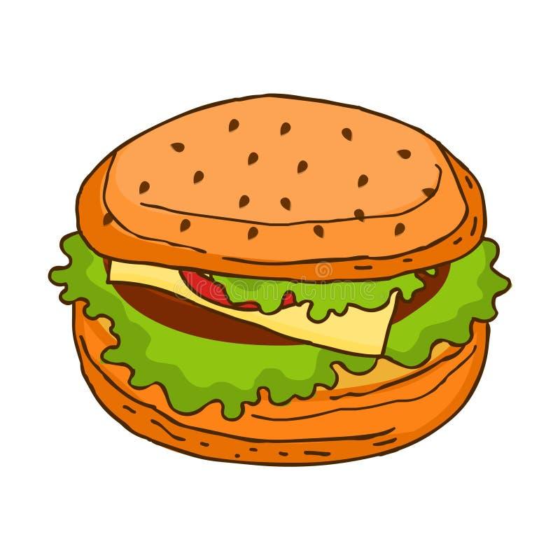 hamburger Ilustração do alimento de Jung ilustração stock
