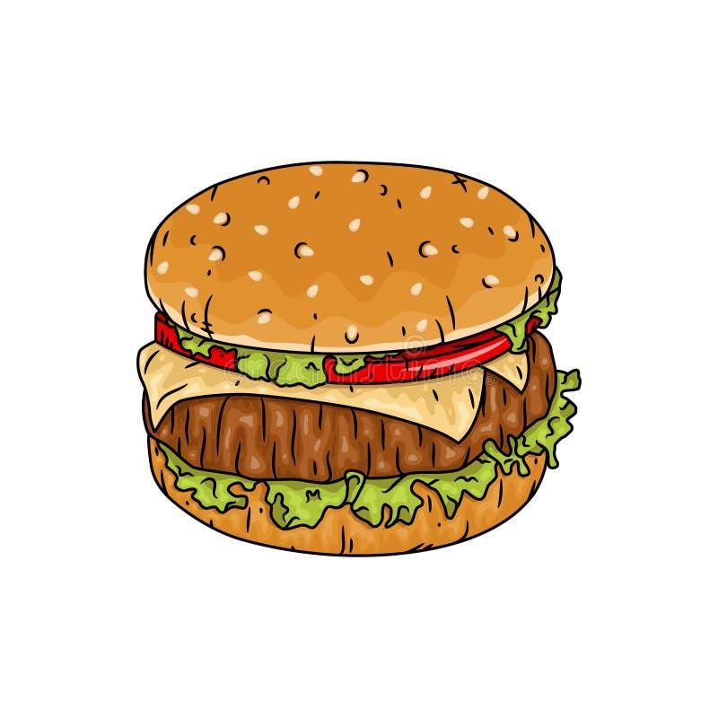 hamburger Ilustra??o do vetor isolada no fundo branco ilustração stock