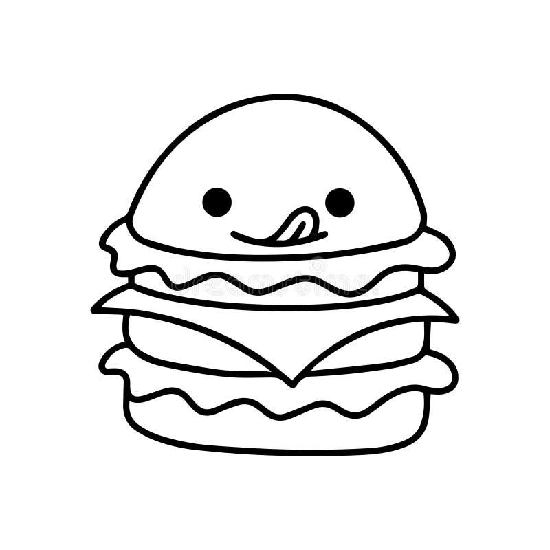 Hamburger ilustrado saboroso ilustração do vetor