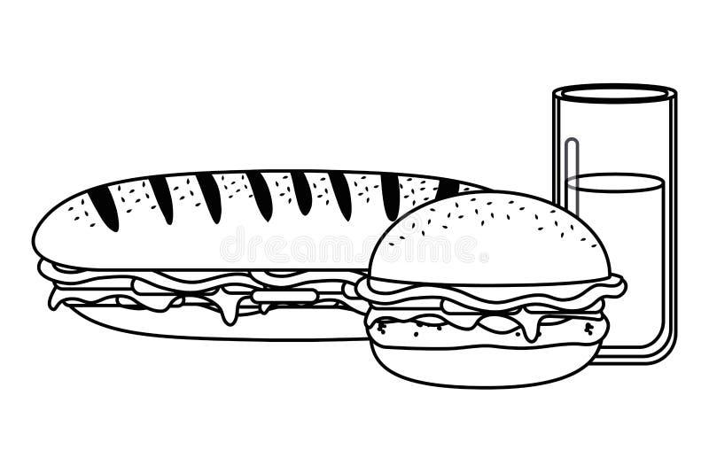 Hamburger isolado do sanduíche e projeto de vidro ilustração royalty free