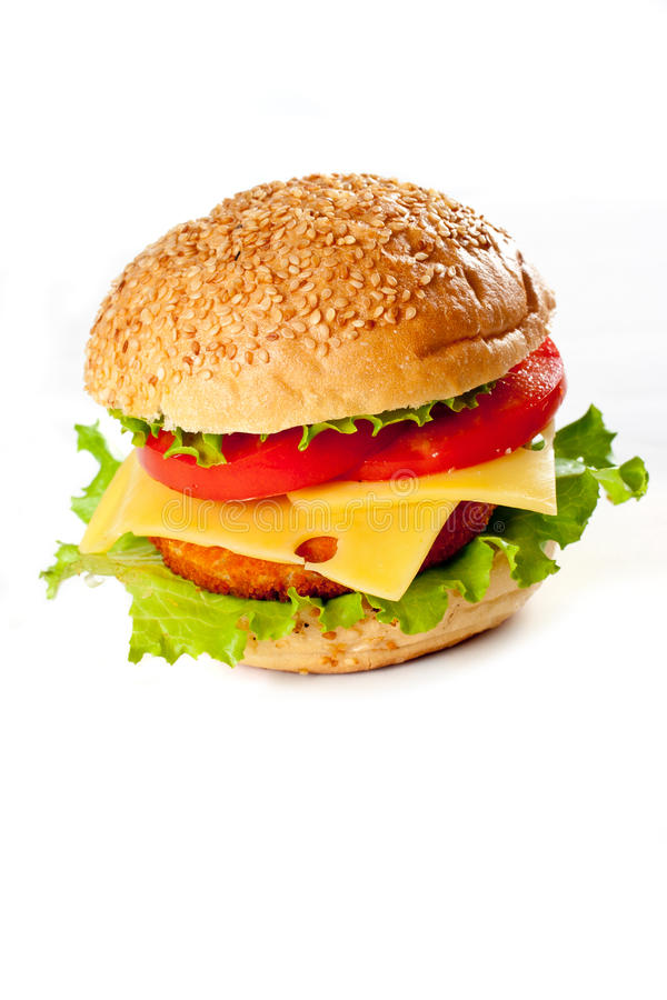 Hamburger isolado no branco fotografia de stock royalty free