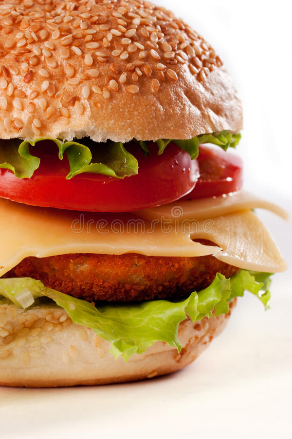 Hamburger isolado no branco fotos de stock royalty free