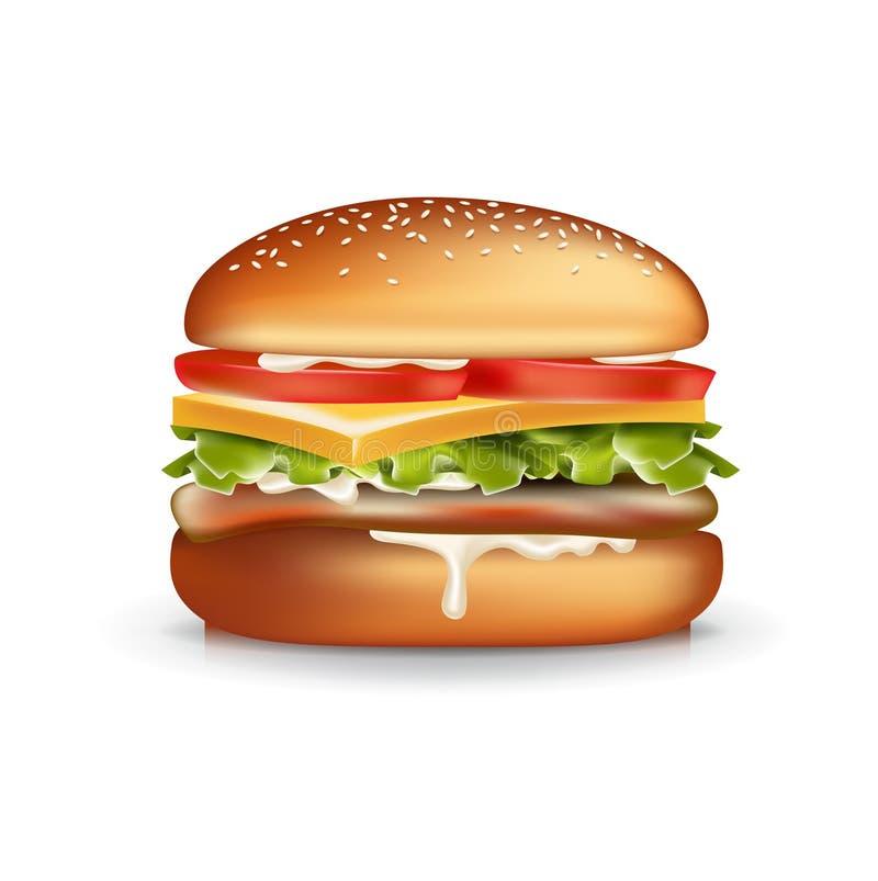 Hamburger isolado no branco ilustração royalty free