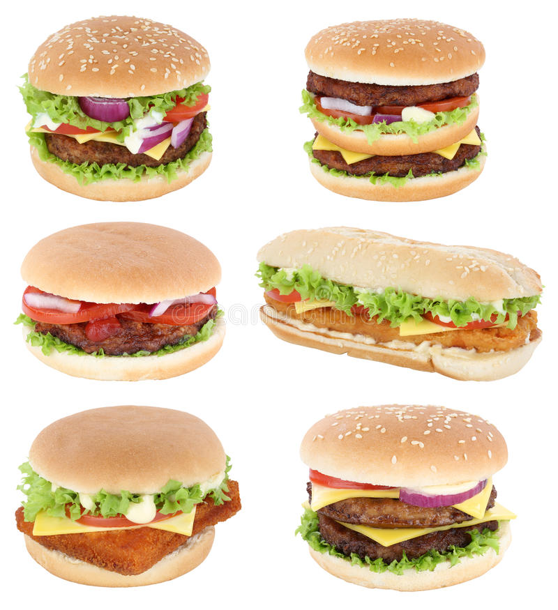 Free Hamburger Isolated Collection Set Cheeseburger Tomatoes Lettuce Stock Photography - 87122142