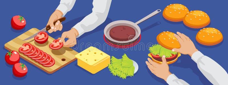 Hamburger isométrique faisant le concept illustration stock