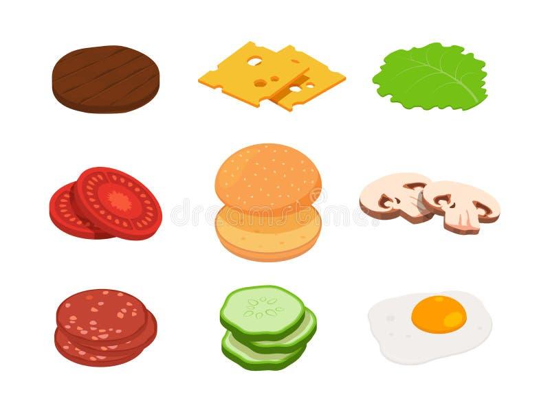 Hamburger isometric Konstruktor hamburger z różnymi składnikami ilustracji