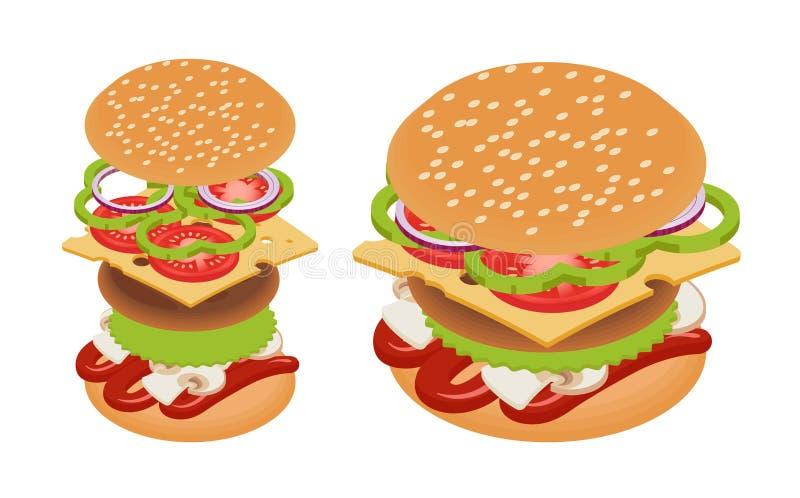 Hamburger isometrico di vettore illustrazione vettoriale