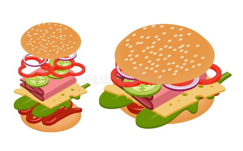 Hamburger isometrico di vettore royalty illustrazione gratis