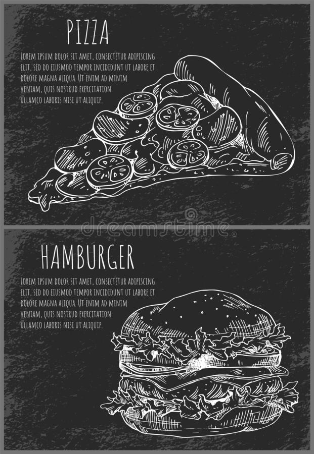 Hamburger and Pizza Slice Vector Illustration. Hamburger and Italian pizza slice monochrome sketches outline set. Bun with meat, salad leaves and vegetables stock illustration