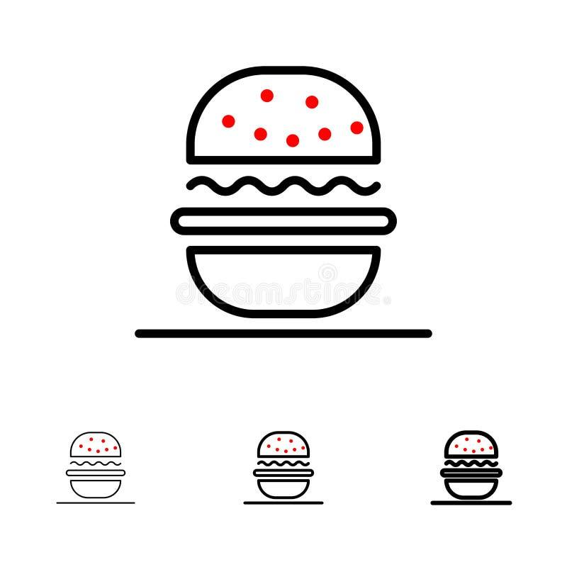 Hamburger, Je, amerykanin, Usa czerni linii ikony set, Śmiały i cienki ilustracji