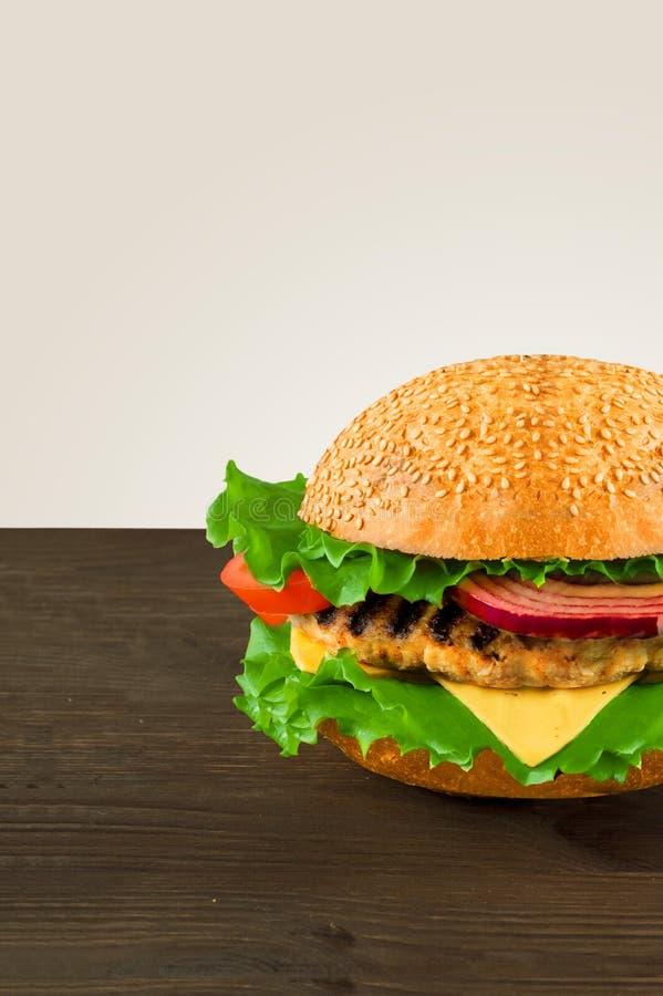 Hamburger juteux et parfumé avec des fritures faites maison photo stock