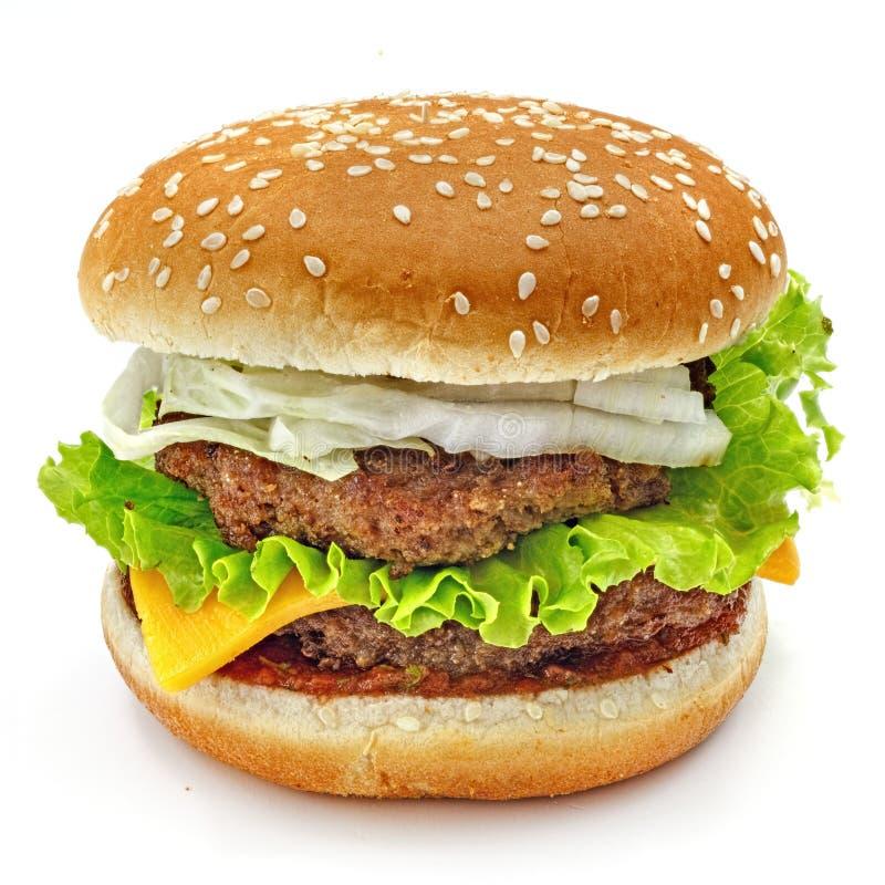 Hamburger, kanapka, hamburger z serem, zielona sałatka, Chińska kapusta, dwoiści mięśni paszteciki i babeczki z sezamowymi ziarna obrazy stock