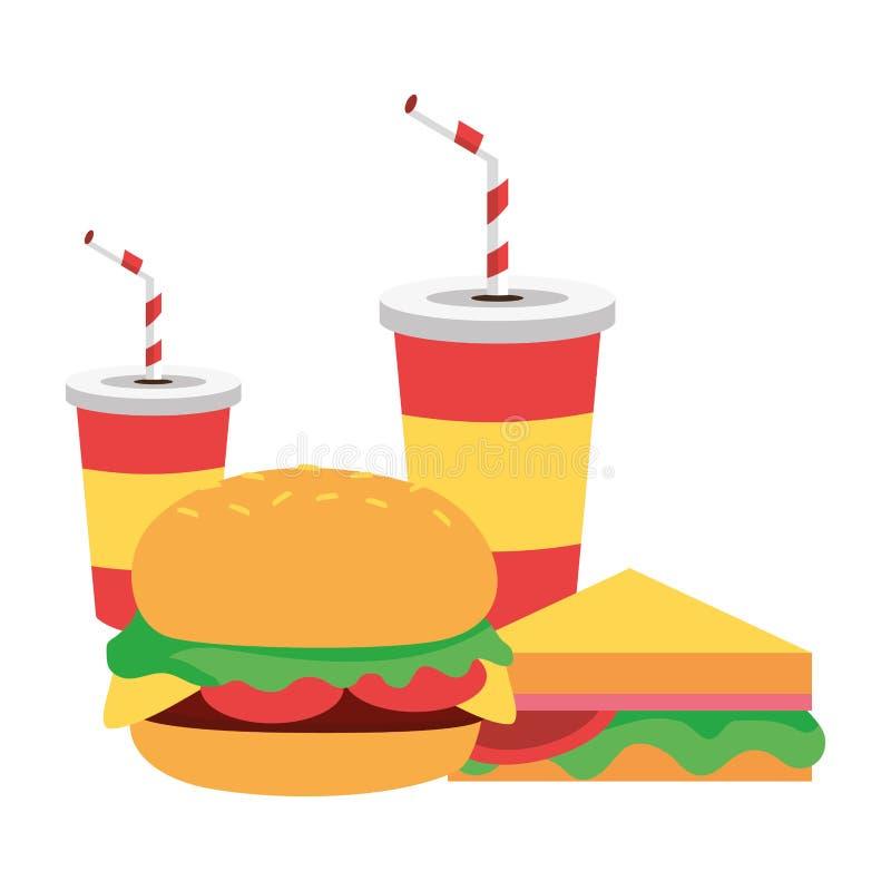 Hamburger kanapki sody filiżanki ilustracja wektor