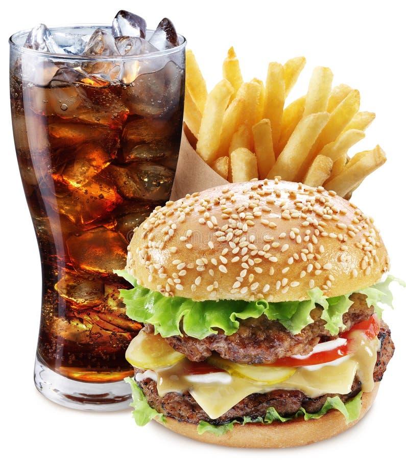 Hamburger, Kartoffelfischrogen, Cola Mitnehmerlebensmittel stockbild