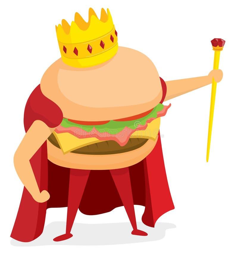Hamburger king wearing a crown royalty free illustration