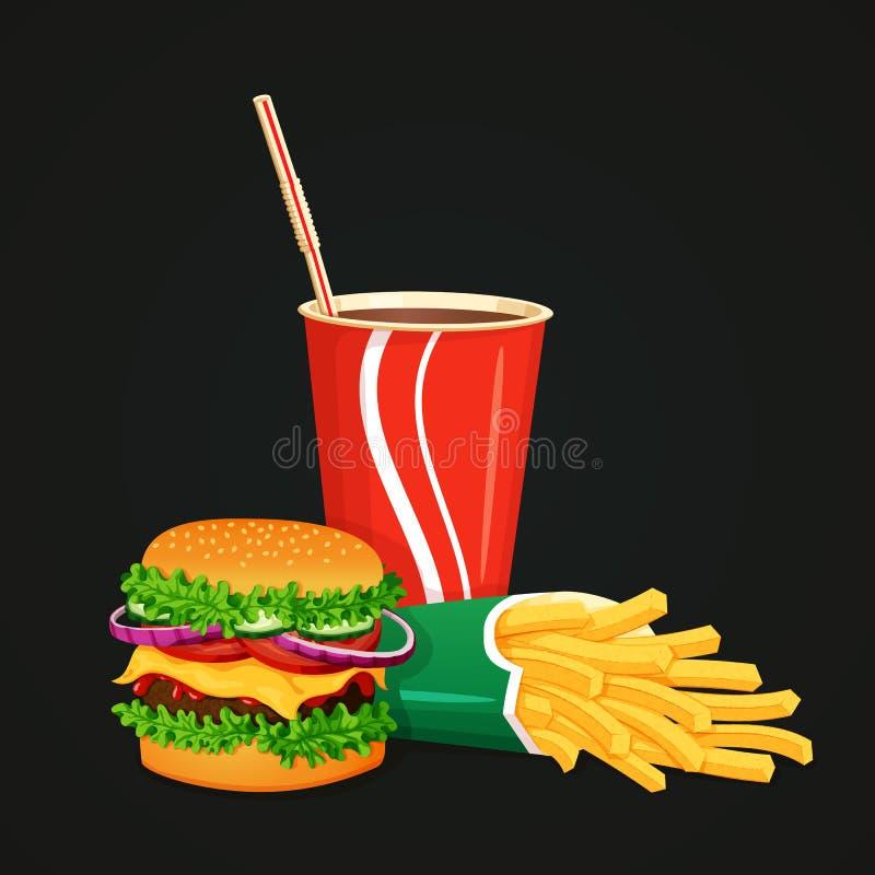 Hamburger, kola et boîte de pommes frites se trouvant d'un côté illustration libre de droits