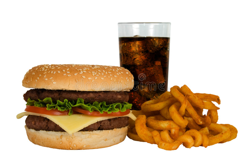 Hamburger, kola et fritures photographie stock