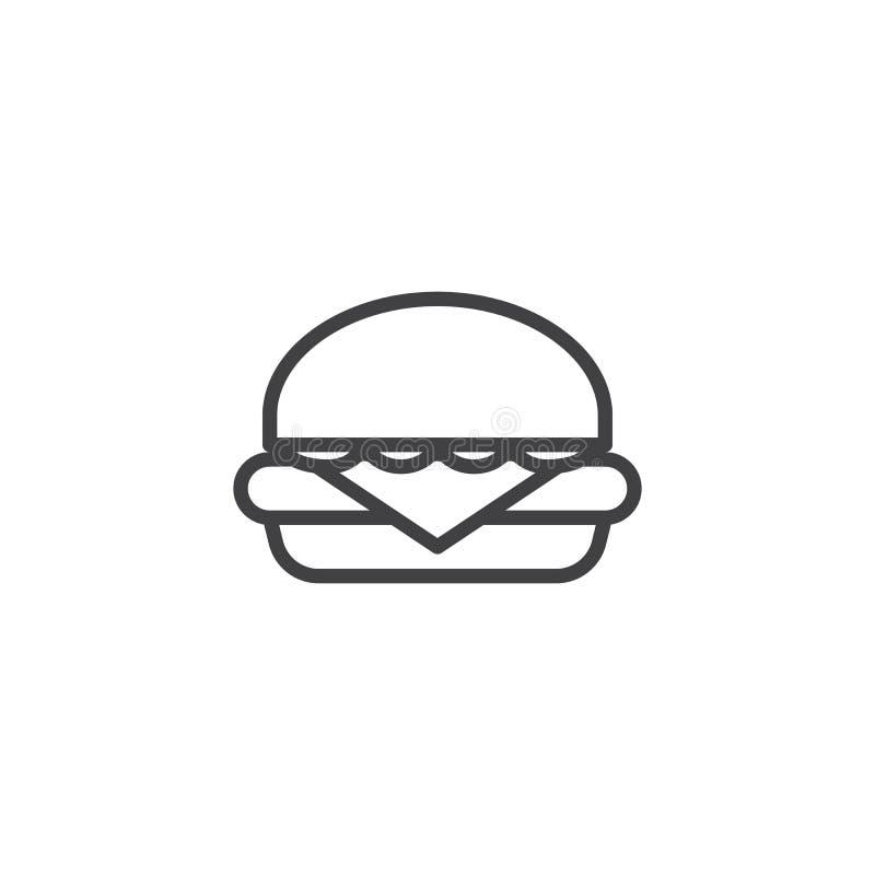 Hamburger, hamburger kreskowa ikona ilustracji