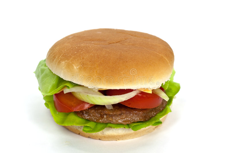 Hamburger With Lettuce,cheddar,tomato Royalty Free Stock ...