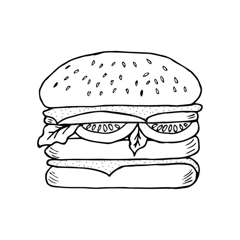 Hamburger, liniowiec ilustracji