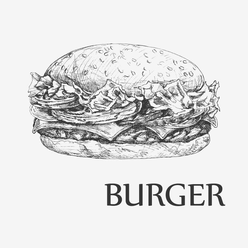 hamburger Llustration tirado mão do vetor Fundo do fast food do vintage ilustração royalty free