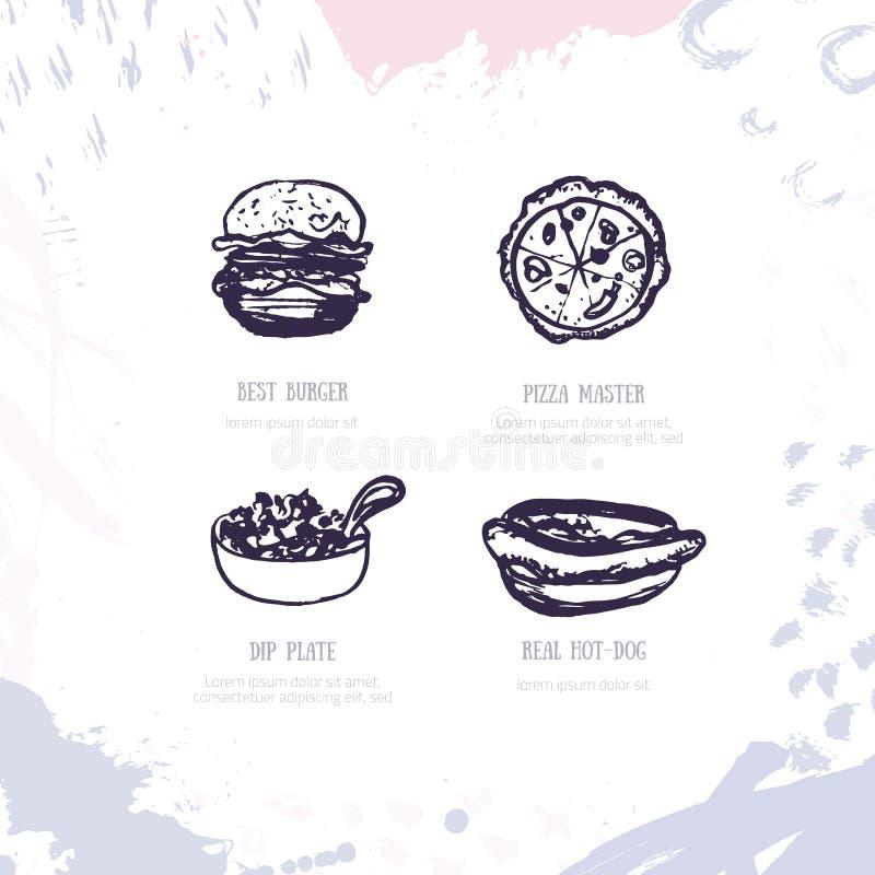 Hamburger Logo Design Vector Set con l'hamburger, patate fritte, illustrazione di vettore della pizza illustrazione vettoriale