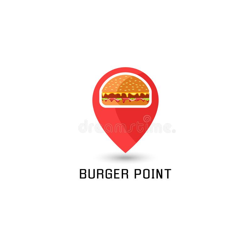 Hamburger logo pointer pin location sandwich fast food point. American burger tasty with traditional ingredients stock illustration