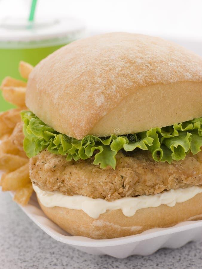 Hamburger méridional de filet de poulet frit photos stock