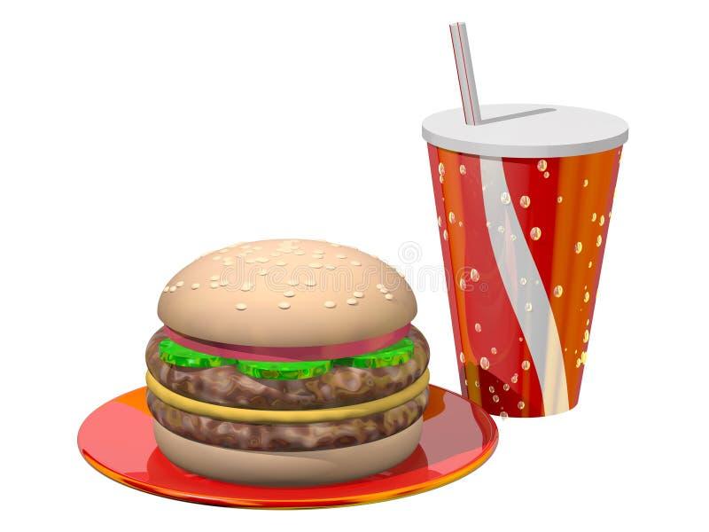 Hamburger-Mahlzeit lizenzfreie abbildung