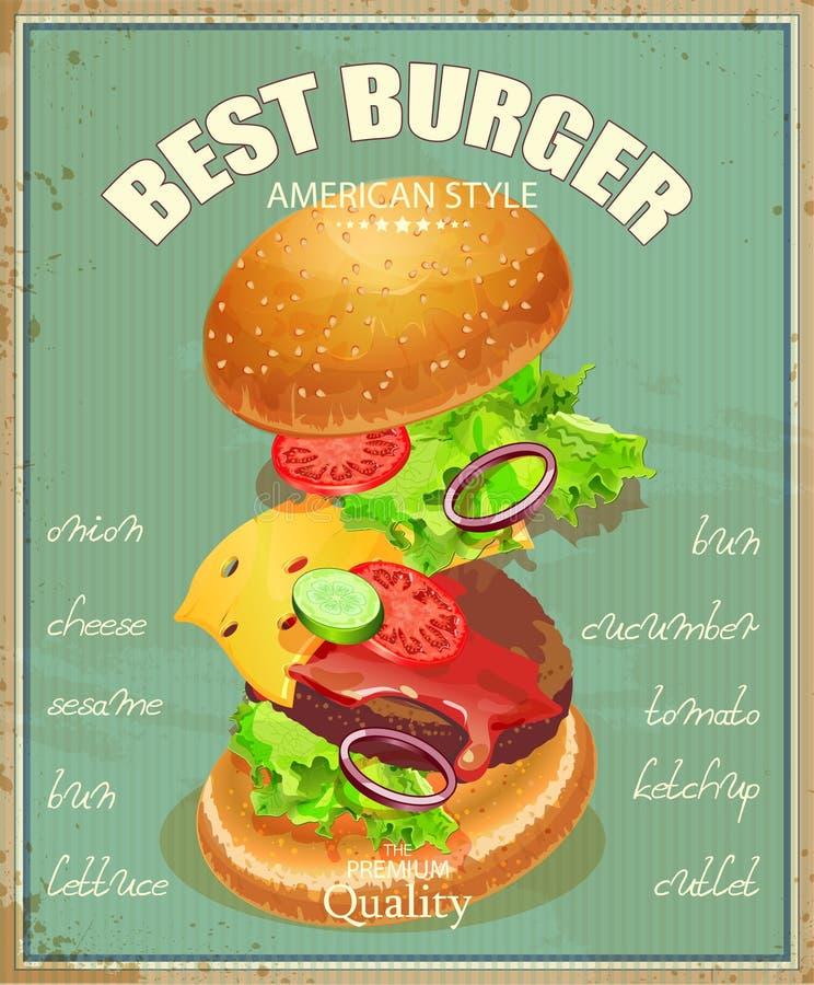 Hamburger Manifesto nello stile d'annata tradizionale americano illustrazione di stock