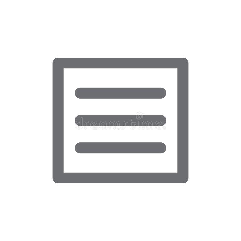 Hamburger Manu - de Pictogrammen van UI en UX-voor Mobiele of Webtoepassingen vector illustratie