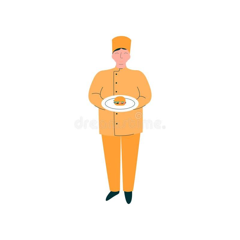 Hamburger masculin de Holding Freshly Prepared de chef du plat, caractère professionnel de Kitchener dans le vecteur uniforme ora illustration de vecteur