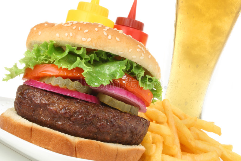Download Hamburger Meal With French Fries And Cold Beer Stock Photo - Image: 5260116