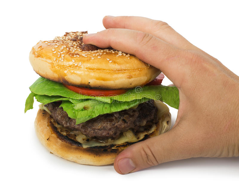 Download Hamburger With Meat And Lettuce Stock Photo - Image of background, hand: 31368910