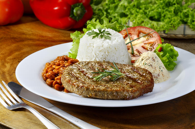 Hamburger meat on a meal stock photography