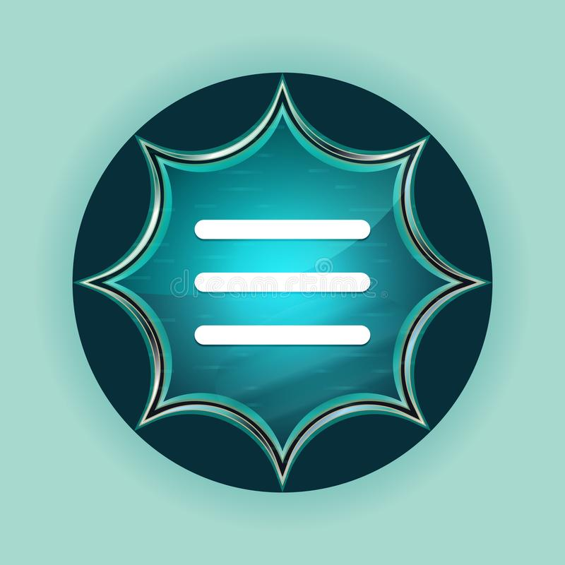 Hamburger menu bar icon magical glassy sunburst blue button sky blue background vector illustration