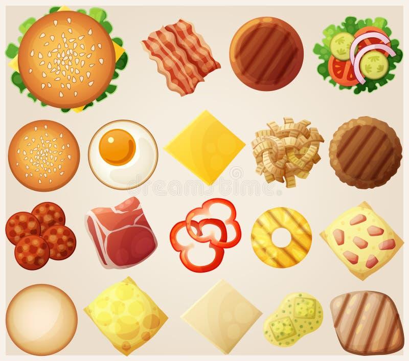 Hamburger messi Vista superiore I panini degli ingredienti, il formaggio, il bacon, il pomodoro, la cipolla, la lattuga, i cetrio illustrazione di stock