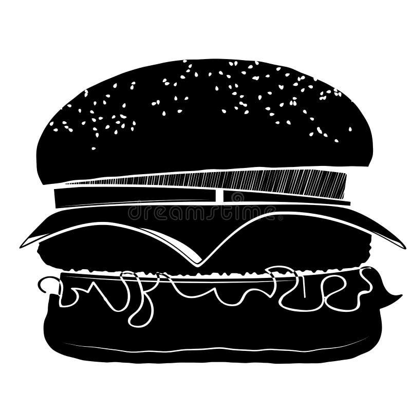 Hamburger met een karbonade, een kaas, uien en tomaten Bestrooid met sesam royalty-vrije illustratie
