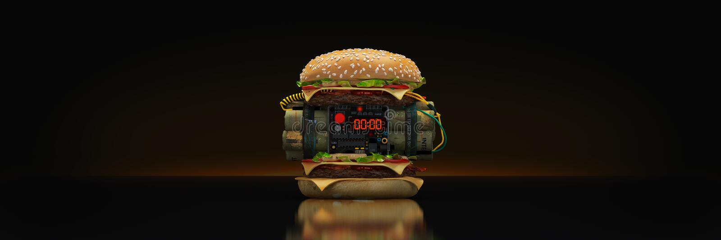 Hamburger met explosief 3d vector illustratie