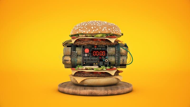 Hamburger met explosief 3d stock illustratie