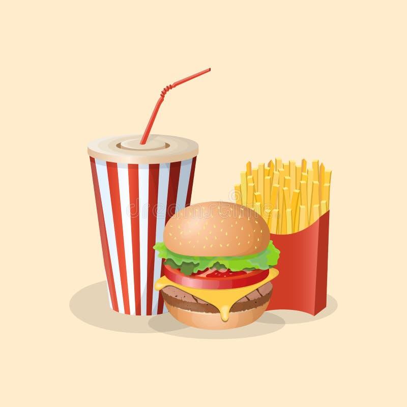 Hamburger met frieten en sodakop - leuk beeldverhaal gekleurd beeld Grafische ontwerpelementen voor menu, verpakking royalty-vrije illustratie