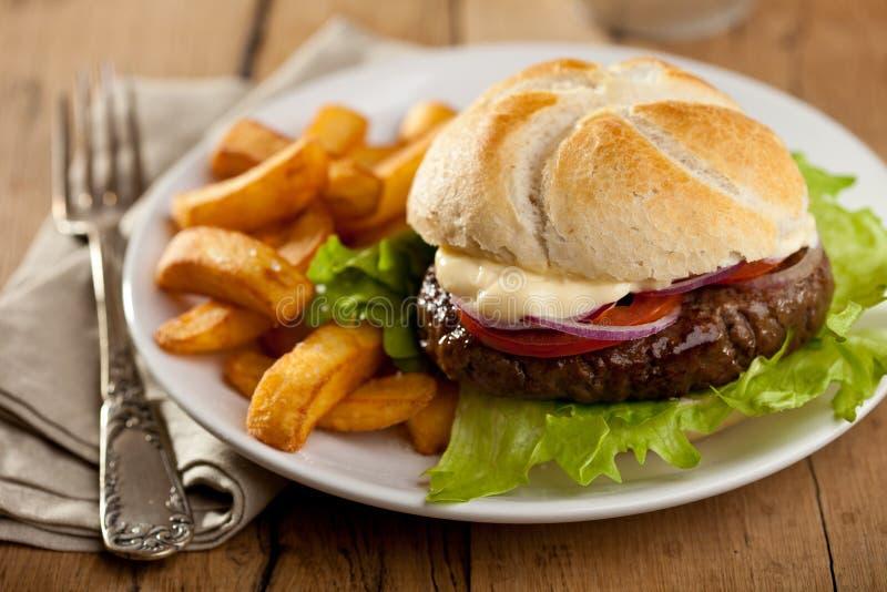 Hamburger met gebraden gerechten stock foto