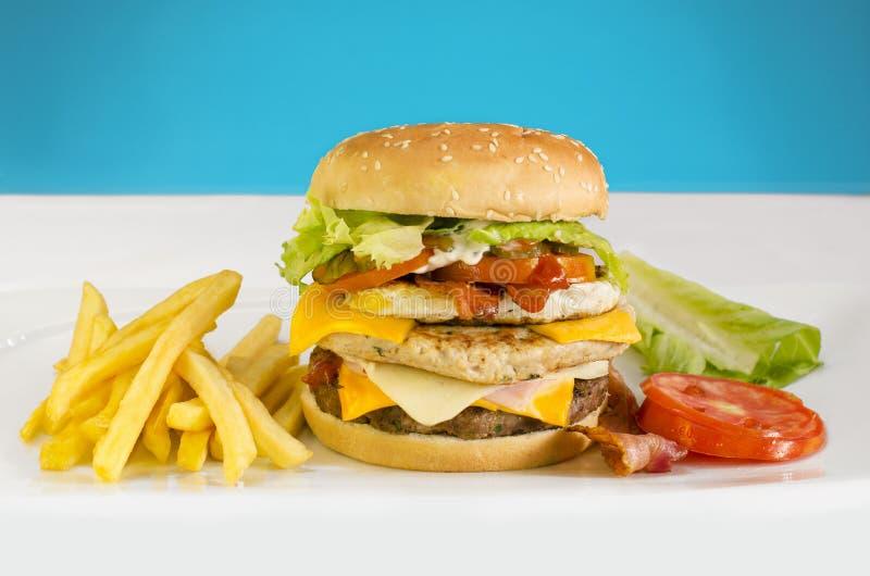 Hamburger met gebraden gerechten aan de kant stock fotografie