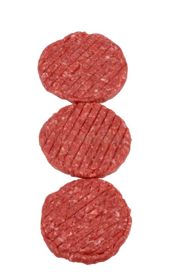 hamburger mięsne szereg surowych zdjęcia royalty free