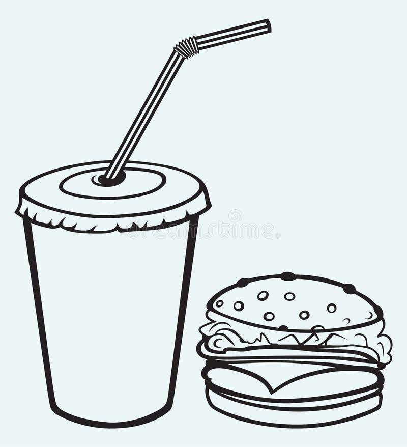 Hamburger mit Kolabaum lizenzfreie abbildung