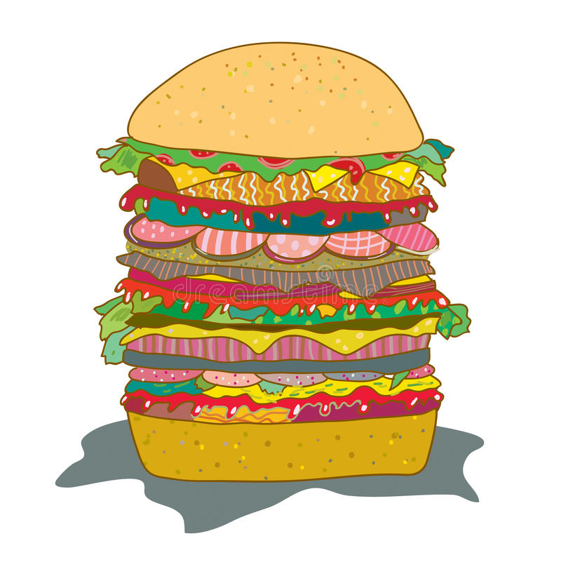Hamburger mit lustiger Karikatur des Salats vektor abbildung