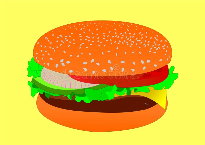 Hamburger molto saporito illustrazione vettoriale